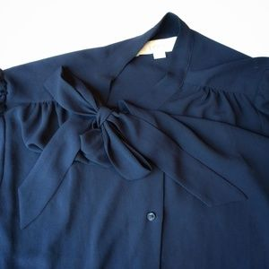 Ann Taylor Loft dark blue blouse Large